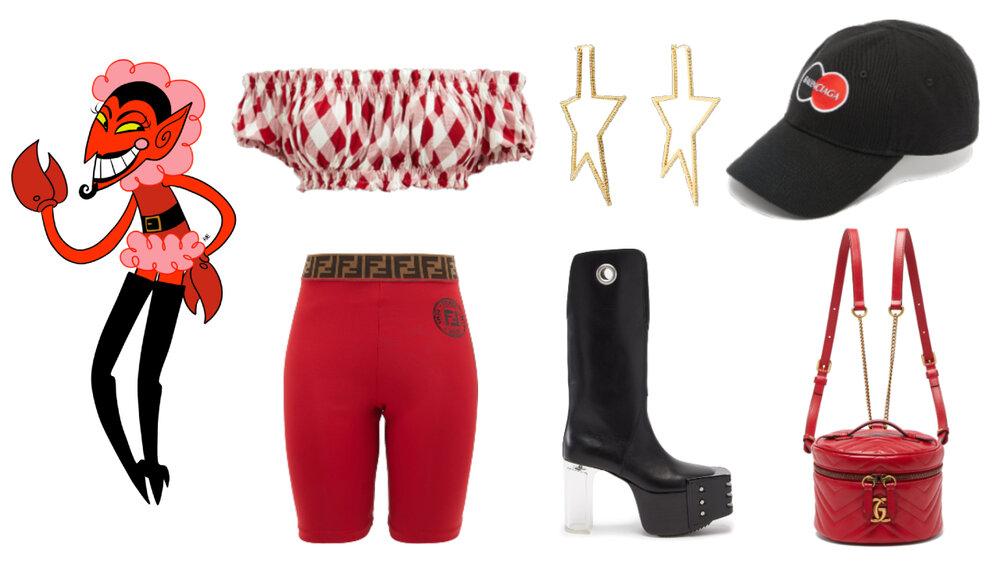 Top: Norma Kamali, Shorts deportivos: Fendi, Aretes: Lynn Ban, Zapatos: Rick Owens, Gorra: Balenciaga, Mochila: Gucci.
