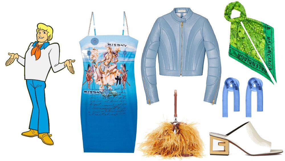 Vestido: MISBHV, Chamarra: Bottega Veneta, Bolso: Marques Almeida, Pañoleta: Balenciaga, Aretes: Colville, Zapatos: Givenchy.